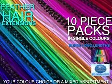 Feather Hair Extensions XXXL Single Colours Tool Beads Kits Options+FREE $7 Gift