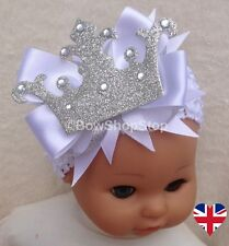 Headband White Christening Newborn Baby Crown Hair Bow Organza Bag Photo Prop