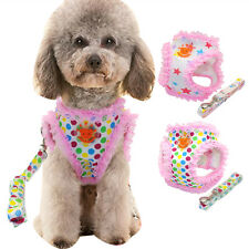 Pink Mesh Lace Pet Dog Vest Harness & Leash Lead Set Durable for Small Dog Teddy