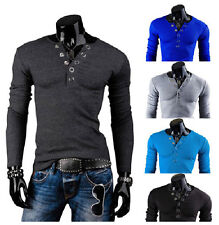 New Mens Button V Neck T-Shirt Long Sleeves Autumn Winter Casual Slim Pure Color