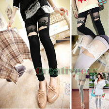 Fashion Women Embroidery Lace Gauze Stitching Stretchy Back Tight Leggings Pants