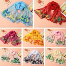 Women Lady Silk Long Soft Neck Scarf Shawl Wrap Chiffon Scarves Pashmina E8O0