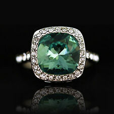 925 Silver SP Green Square Cocktail Ring side with Swarovski Crystals R410