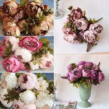 Artificial Wedding Party Decor Bridal Bouquet Peony Silk Flowers Fake Leaf