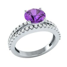 1.80 ct Natural Amethyst & Certified Diamond Solid Gold Wedding Engagement Ring
