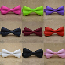 Baby Girls Boys Vintage Bow Tie Wedding Party Solid Satin Children Kids Bow Ties