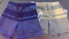 New Boys Old Navy Striped Pull-On Cotton Shorts Size 12-18 Months Blue or Gray