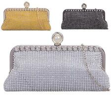 Womens Girls Evening Diamante Crystal Clasp Clutch Bag Prom Wedding Party Bag