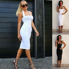 Women Bodycon Bandage Halter Strapless Sleeveless Party Dress High Quality