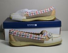 NIB WOMEN SPERRY TOP SIDER ANGELFISH IVORY STRIPE BOAT SHOES SZ 6-8.5