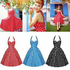 Retro Lady Polka Dot 1950s Hepburn Classic Vintage Rockabilly Swing Halter Dress