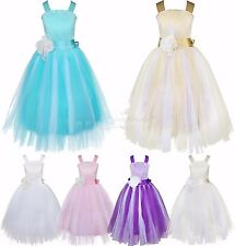 Kids Girls Party Flower Formal Wedding Bridesmaid Pageant Lace Christening Dress