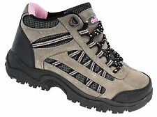 Womens Ladies Hiking Walking Trail Boots / Pink Grey Black Laced DEK 3 to 8
