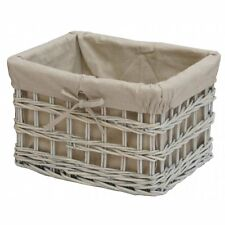 Provence White Wash Wicker Cotton Lined Storage Basket Willow Lined Large Small