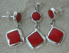 925 STERLING SILVER Synthetic Red Coral Diamond Shaped Drop Earrings & Pendant