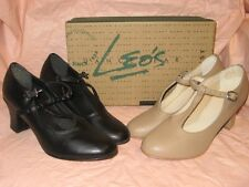 "LEOS DANCEWEAR WOMEN'S #936 TAN OR #938 BLACK T-STRAP CHARACTER  SHOES 2"" HEEL"