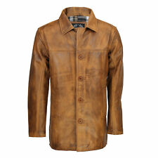 Mens Real Genuine Leather Tan Brown Vintage 4 Button Classic Reefer Jacket Coat