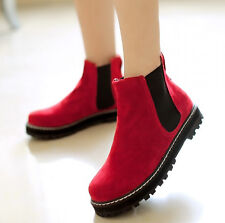 6 Colors Punk Girls Faux Suede Shoes Womens Flat Antiskid Pull On Ankle Boots AU
