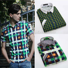 Mens New Casual Dress Shirt Mens Fashion Plaid Short Sleeve Shirts 4 Color Slim