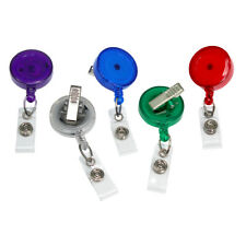 5 Pack - Translucent Color Retractable ID Badge Reels with Alligator Swivel Clip