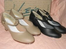 LEOS DANCEWEAR WOMEN # 321T TAN or #318T BLACK CHARACTER TAP Shoes 1.5  HEEL