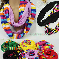 Fashion Women's Colorful Combine Knit Warmer Infinity Scarf Loop Cowl Lady Shawl