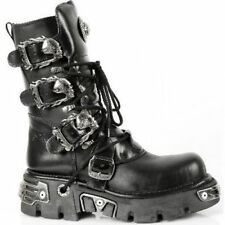 New Rock 391-S1 Metallic Boots Black Leather Gothic Biker Emo Fashion All Size