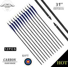 "Handmade Shield Feather Carbon Arrows 32"" Screw Tips Archery Hunting Arrow"