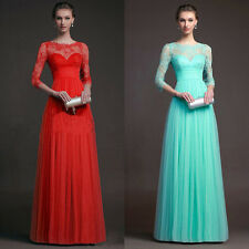 Women Formal Evening Party Cocktail Lace Long Prom Club Maxi Bridal Wed Dress