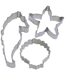 3 Piece Seahorse Seashell Starfish Cookie Cutter Set Birthday Party Gift