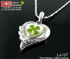 Real Green Cute Irish Shamrock Four Leaf Clover Heart Pendant Good Gift Necklace