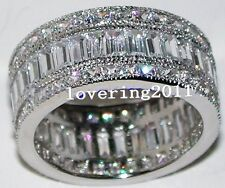 Full 20ct Topaz Diamonique 10KT White Gold Filled Wedding Band Ring Sz 5-11 Gift