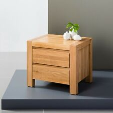 Anya 2 Drawer Timber Bedside Table - Solid Oak Wood - 40x50x45cm