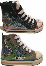 Buckle My Shoe Boys Hi Tops Canvas Pumps Lace Up Trainers Ankle Boots Size 4-8