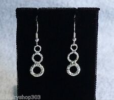 Solid Sterling Silver Hammered Dangle Earrings Bead & Coil Ear Wires Handcrafted