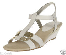 ANNE KLEIN NARELLE WHITE SLINGBACK OPEN TOE WEDGE HEELS SHOES MULTISIZE AS158