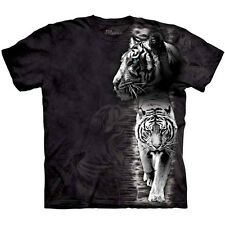 WHITE TIGER STRIPE T-Shirt The Mountain Face Collage Black Adult Sizes S-3XL NEW