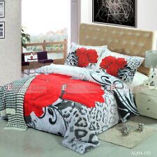 Leopard Rose Double/Queen/King Bed Quilt/Doona/Duvet Cover Pillowcases Set New
