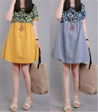 New National Style Skirt Long Printing Dresses Short Sleeves A line Casual Dress
