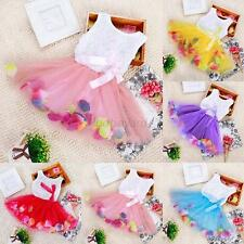 Baby Girls Kids Princess Pageant Party Tutu Dress Lace Bow Flower Tulle Skirts