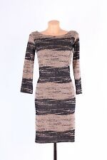 NEW GUESS dress / brown casual formal autumn winter long sleeve dress size S M