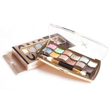Pop 12 Colors Pro Eyeshadow Shimmer Palette & Cosmetic Brush Makeup Beauty 1 Set
