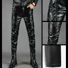 Black Punk Mens Rock Band PU Leather Zipper Motorcycle Gothic Pants Trousers