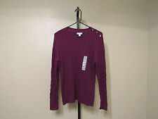NWT Charter Club Womens L/S Cable Knit Sweater-Crew Neck-Berry-XL-Retail-$59.50