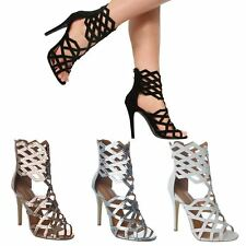 NEW LADIES WOMENS HIGH STILETTO HEEL ZIP UP GLADIATOR PEEP TOE ANKLE BOOTS SIZE