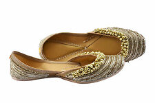 Womens Embroidered Golden Indian Jutti Ballet flats Leather Shoes Slip on Pumps