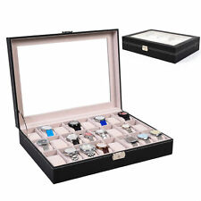 6/10/20/24 Slot Jewelry Wrist Watch Display Case Box Storage Holder Organizer EM