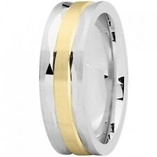 AWESOME 14K Yellow and White GOLD Two Tone 7mm MODERN Wedding Band RING new