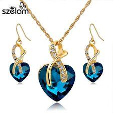 Women Gold Plated Jewelry Sets Pearl Crystal Heart Necklace Earrings Jewelry