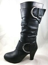 Women's Round Toe High Heel Platform Mid-Calf Knee High Boots Shoes